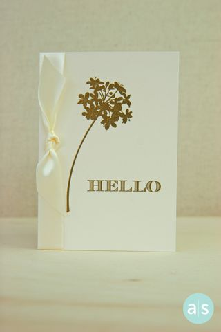 A Muse Studio Beautiful Botanicals 2 ivory and gold card with ribbon