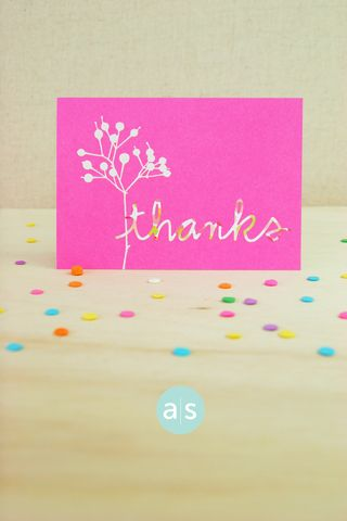 A Muse Studio Beautiful Botanicals pink thanks card vertical