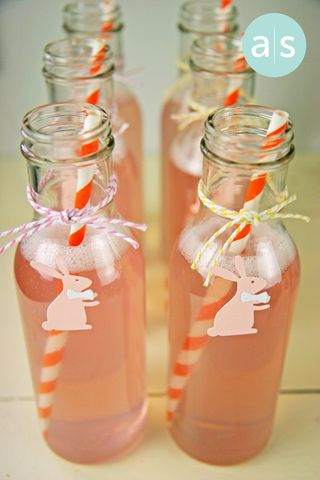 A Muse Studio Easter Beverages with bunnies and orange straws vt