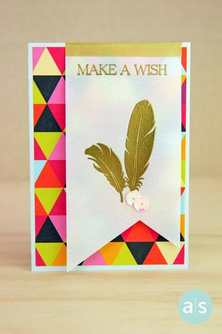 A Muse Studio Make a Wish gold feathers on patterned paper