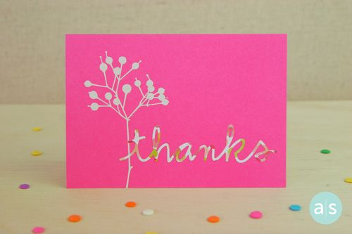 A Muse Studio Beautiful Botanicals pink thanks card