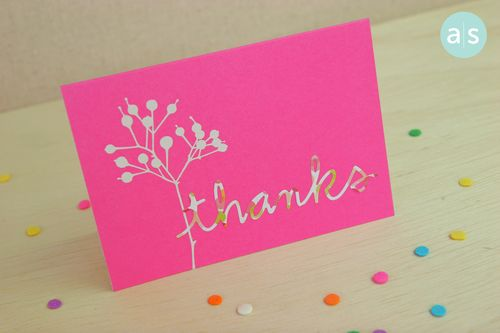 A Muse Studio Beautiful Botanicals pink thanks card angle