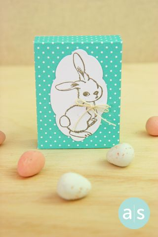 A Muse Studio Candy Box with Stamped bunny blue vertical