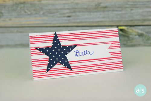 A Muse Studio Stripes and Star place card