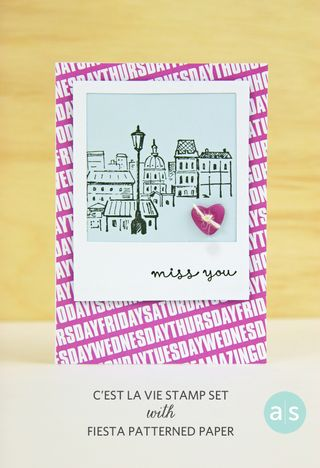 A Muse Studio C'est La Vie stamp set on Fiesta Patterned Paper