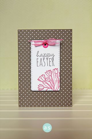 A Muse Studio February Collection Card Catalog Tag Die with pink tulips