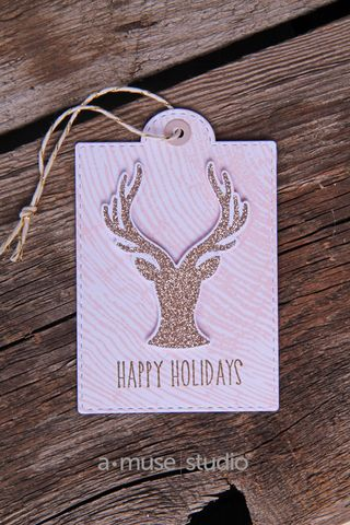 A Muse Studio November 15 Collection - Hello Deer pink woodgrain tag