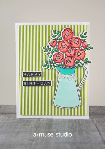 A Muse Studio Vase Happy Birthday Card