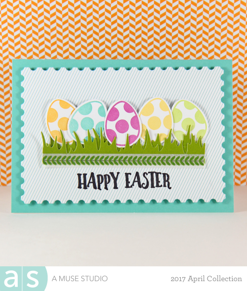 A Muse Studio Happy Spring polka dot eggs in grass VT