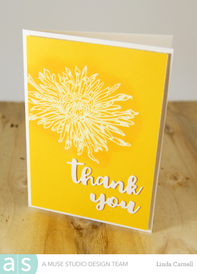A Muse Studio Vintage Floral white embossed thank you yellow A