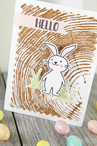 A Muse Studio Happy Spring Hello on Cocoa Redwood VT R