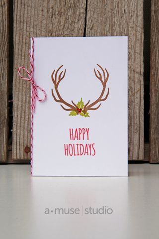 A Muse Studio November 15 Collection - Hello Deer on white with Holiday Greenery