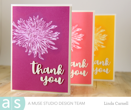A Muse Studio Vintage Floral white embossed thank you M