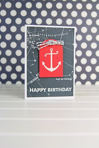 A Muse Studio Anchor's Aweigh red tag birthday card